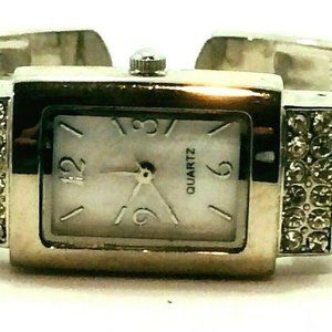 Silver Tone Bangle Watch Quartz Iridescent Face Ar